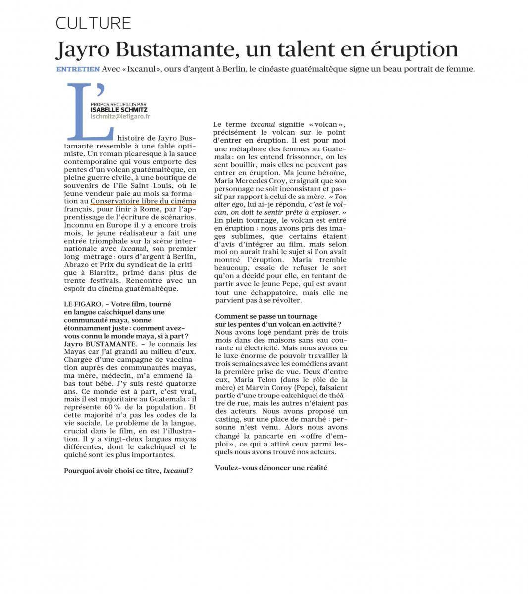 le journal Le Figaro a rencontré le réalisateur Jayro Bustamante